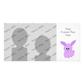 Lilac color bunny. picture card