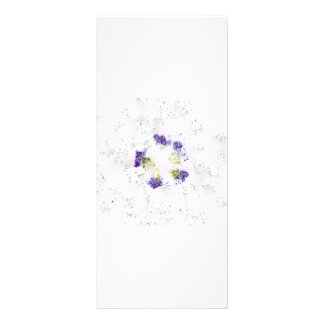 Lilac colored smashed flower design with divots rack card