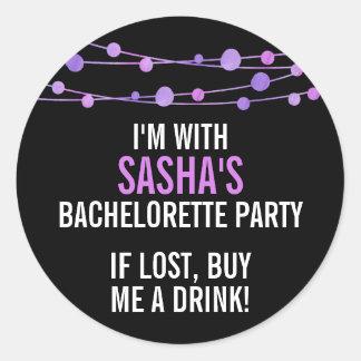 Lilac Confetti Personalized Bachelorette Party Classic Round Sticker