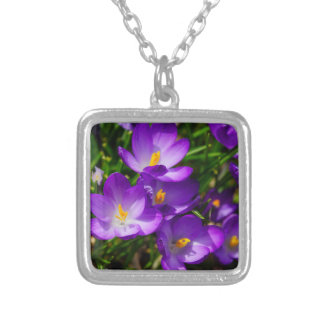 Lilac Crocuses Silver Plated Necklace
