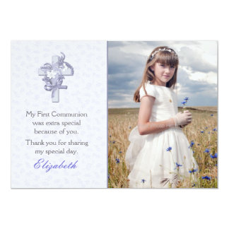 Lilac Cross with Flowers Religious Photo Card