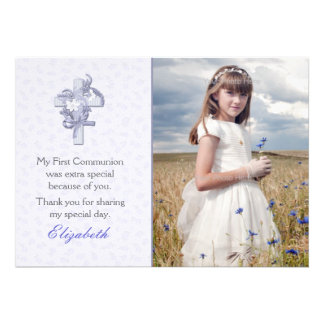 Lilac Cross with Flowers Religious Photo Invite