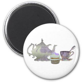Lilac Cupcake Hearts, Teapot and Teacup Art Magnet