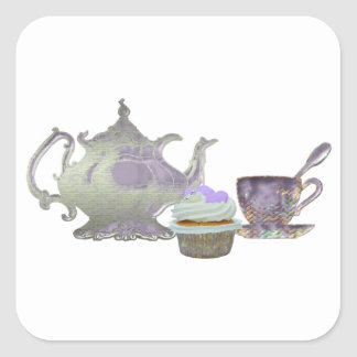 Lilac Cupcake Hearts, Teapot and Teacup Art Square Stickers