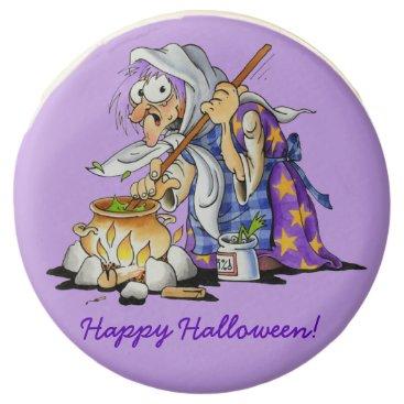 Halloween Themed Lilac Custom Halloween Cookies With Purple Witch