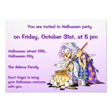 Halloween Themed Lilac Custom Halloween Invitations - Purple Witch