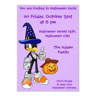 Halloween Themed Lilac Custom Halloween Party Invitations Penguin