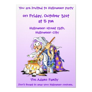 Halloween Themed Lilac Custom Halloween Party Invitations - Witch
