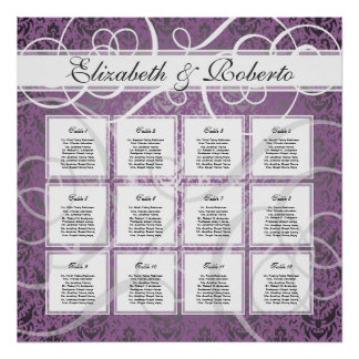 Lilac Damask 12 Table Wedding Seating Plan Chart