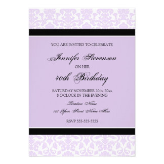 Lilac Damask 40th Birthday Party Invitations