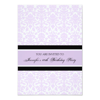 "Lilac Damask 40th Birthday Party Invitations 5"" X 7"" Invitation Card"