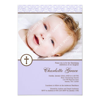Lilac Damask Cross Girl Photo Baptism Christening Card
