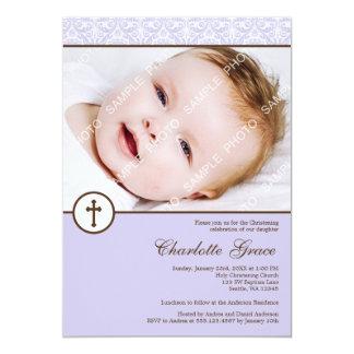 Lilac Damask Cross Girl Photo Baptism Christening Card