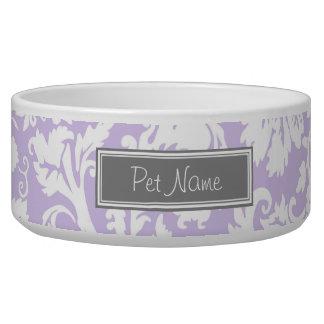 Lilac Damask Custom Name Dog Bowl