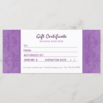 Lilac Damask Gift Certificate