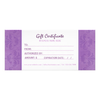 Lilac Damask Gift Certificate Personalized Rack Card