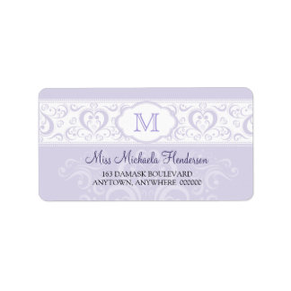 Lilac Damask Monogram Address Label
