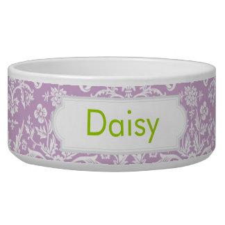 Lilac Damask Pet Water Bowls