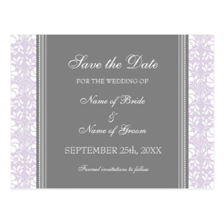 Lilac Damask Save the Date Wedding Postcards