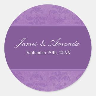 Lilac Damask Round Sticker