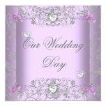 Lilac Damask Wedding Silver Diamond Hearts Card