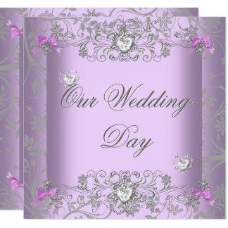 Lilac Damask Wedding Silver Diamond Hearts Invitation