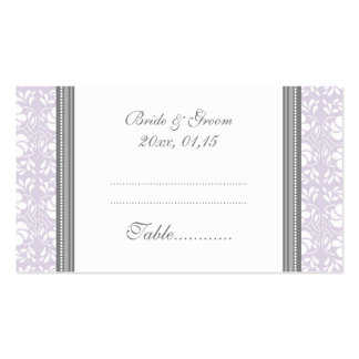 Lilac Damask Wedding Table Place Setting Cards Business Card