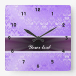 Lilac Damask with Ribbon Clock