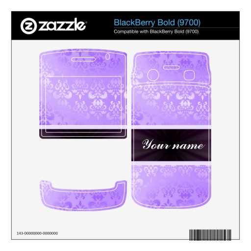 Lilac Damask with Ribbon Skin For BlackBerry Bold