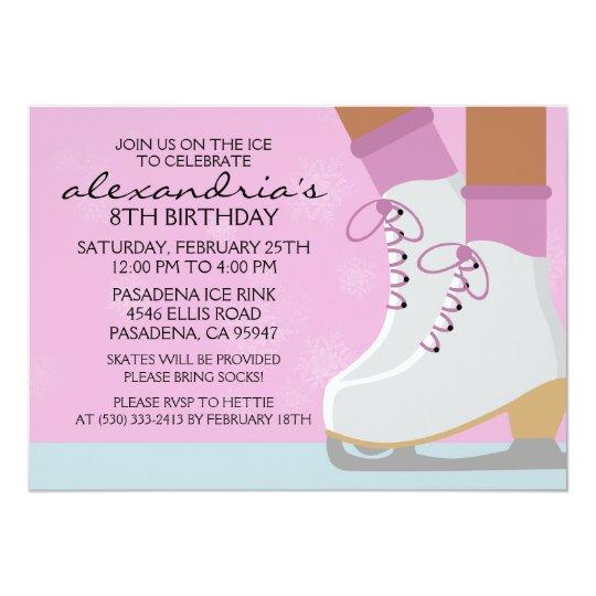 Lilac Dark Skin Skate Laces Ice Skating Party Card
