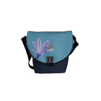 Lilac Day Lily Flower and Butterfly Messenger Bag