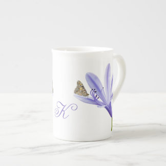 Lilac Day Lily Flower and Butterfly, Monogram Tea Cup