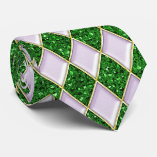 Lilac Diamonds Green Sequin Pattern Mardi Gras Tie