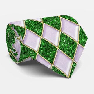 Lilac Diamonds Green Sequin Pattern Mardi Gras Tie