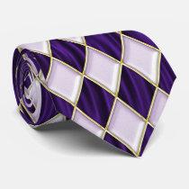 Lilac Diamonds on Purple Bkgrd Mardi Gras Tie