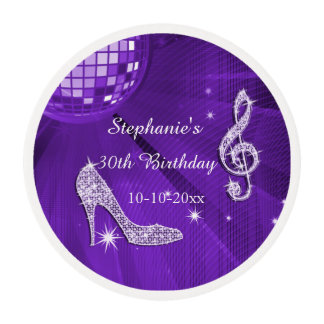 Lilac Disco Ball and Heels 30th Birthday Edible Frosting Rounds