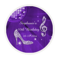 Lilac Disco Ball and Heels 50th Birthday Edible Frosting Rounds