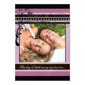 Lilac Dots and Swirls Wedding Photo Invitation