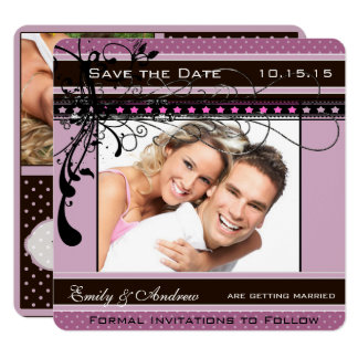 Lilac Dots and Swirls Wedding Photo Save the Date Card