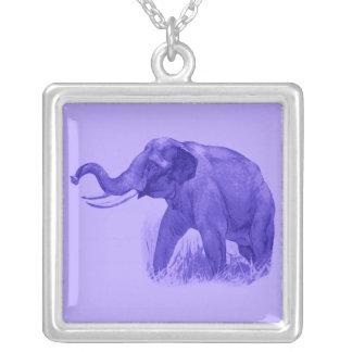 Lilac Elephant Square Pendant Necklace
