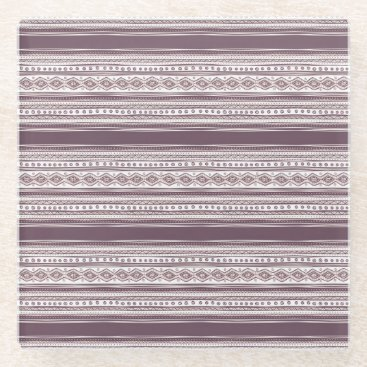 Aztec Themed Lilac Ethnic pattern Glass Coaster