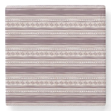 Aztec Themed Lilac Ethnic pattern Marble Stone Coaster