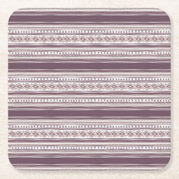 Aztec Themed Lilac Ethnic pattern Square Coasters