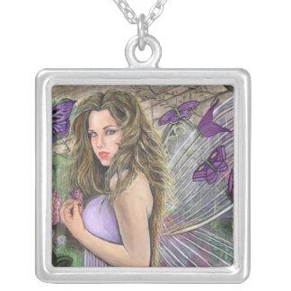 Lilac Fairy Square Pendant Necklace