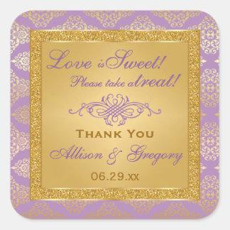 Lilac, FAUX Glitter, Damask Candy Buffet Sticker