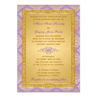 Lilac, FAUX Glitter, Damask Wedding Invitation