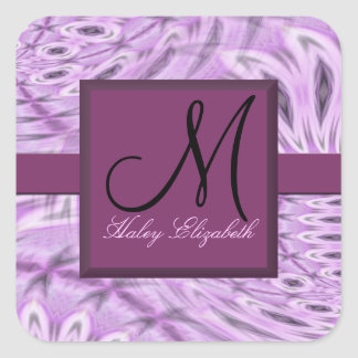 Lilac Feathers Monogram Square Stickers