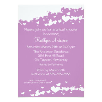 Lilac Field of Hearts Bridal Shower Invitation