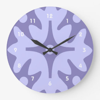 Lilac Floral Abstract Large Clock