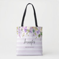 Lilac Floral and Stripes Bridesmaid Monogram Tote Bag